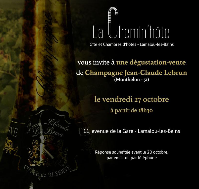 Dégustation-vente de Champagne à La Chemin'hôte